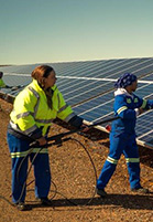 Workers on SolarReserve's Jasper PV Plant