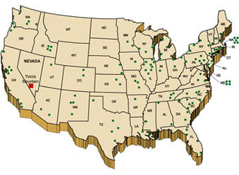 Map of spent nuclear fuel sites