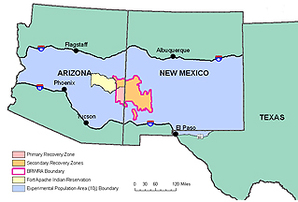 Blue Range Wolf Recovery Area map