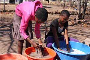 Girls washing