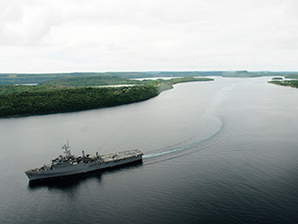 Navy ship leaving Tonga
