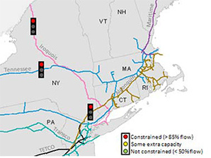 Natural gas pipeline flow status