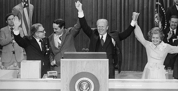 President Gerald Ford, First Lady Betty Ford, Vice President Nelson Rockefeller and vice presidential candidate Bob Dole