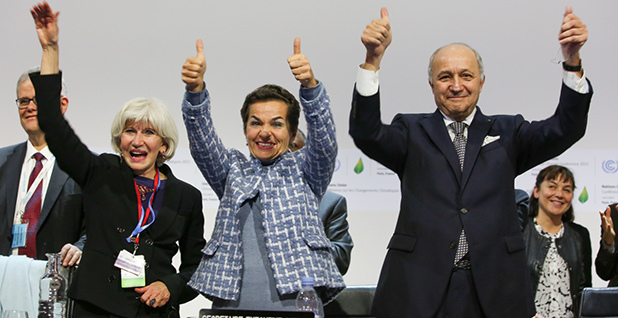 Christiana Figueres, Laurence Fabius and Laurent Tubiana