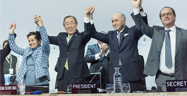 U.N. Secretary-General Ban Ki-moon, U.N. climate chief Christiana Figueres, former French Foreign Minister Laurent Fabius, French President Francois Hollande