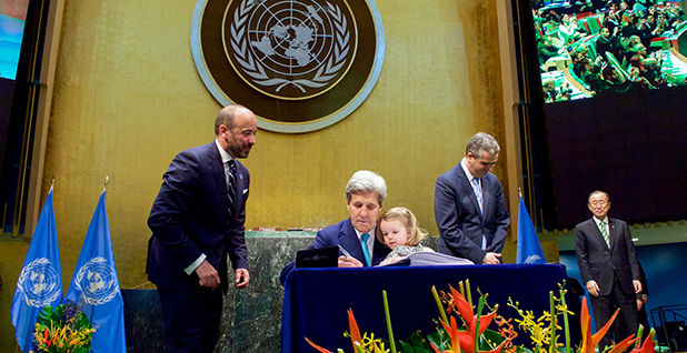 U.S. Secretary of State John Kerry, with his two-year-old granddaughter