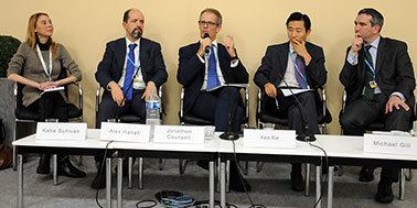 left to right: Katie Sullivan, IETA; Alex Hanafi, EDF; Jonathon Counsell, International Airlines Group; Ken Xie, Australia; and Michael Gill, Executive Director, ATAG.