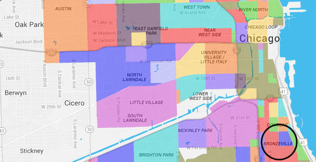 map of Bronzeville neighborhood in Chicago