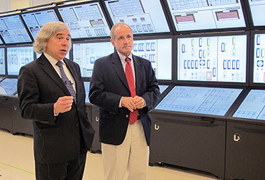 Ernest Moniz, left, and Jim Risch,