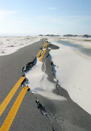 storm damaged road