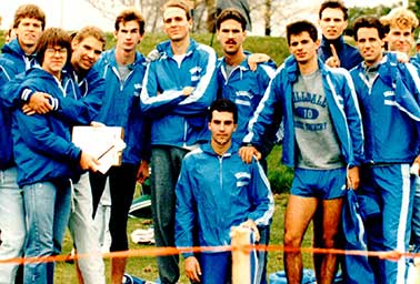 Frank Maisano with Hillsdale College track team