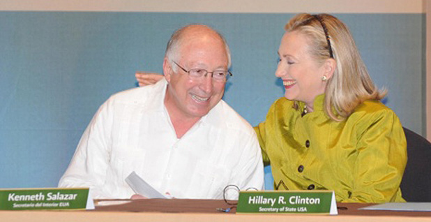 Ken Salazar and Hillary Clinton