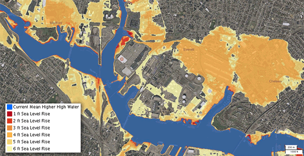 Map of Projected sea level rise around the Everett Terminal