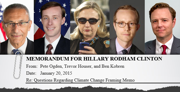 Photo collage of Hillary Clinton's energy and climate brain trust