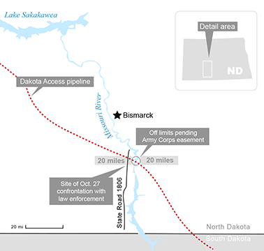 Map of the contested area of Dakota Access route