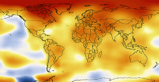 Global temperature anomalies averaged from 2008 through 2012