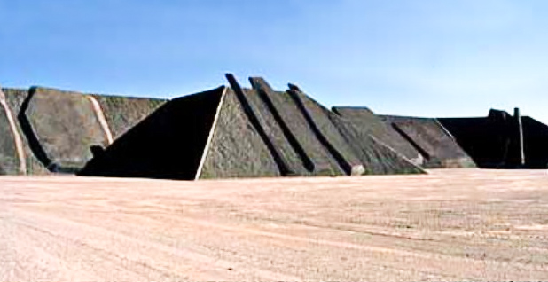 "Michael Heizer's installation the ""City"""