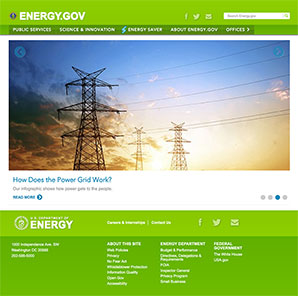 Energy.gov homepage on January 20, 2017.