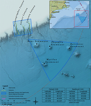 Northeast Canyons and Seamounts Marine National Monument  Map