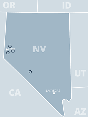 Map of battery manufacturers in Nevada