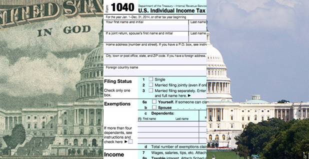 Money, tax forms, Capitol building