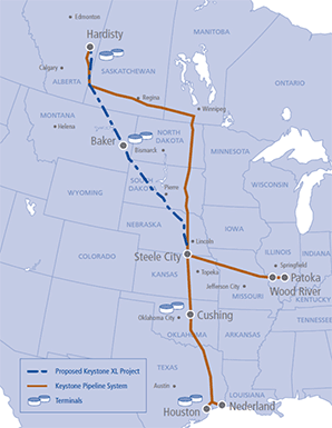 map of proposed keystone xl pipeline route