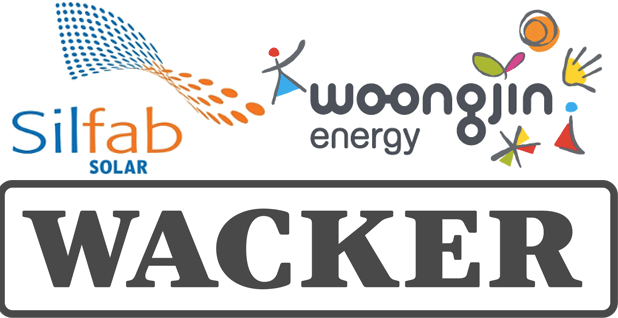 Silfab Solar, Woongjin Energy and Wacker logos