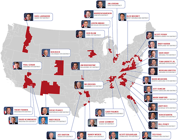Map of Freedom Caucus members and their districts