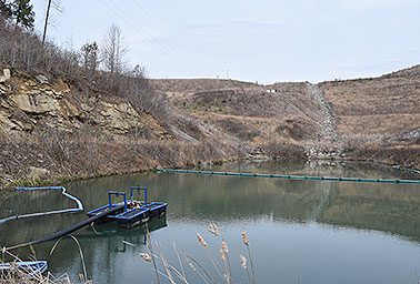 Sediment pond at the Hobet mine site
