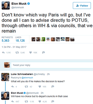 Elon Musk Tweets: Don't know which way Paris will go, but I've done all I can to advise directly to POTUS, through others in WH & via councils, that we remain