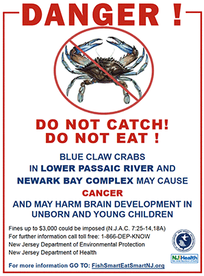 Crab warning sign. Image credit: New Jersey Department of Health