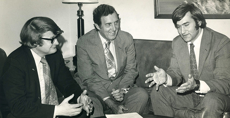 From left, Leon Billings, Edmund Muskie and Tom Jorling. Photo credit: Tom Jorling/ Earth Institute at Columbia University