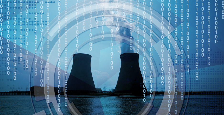 Nuclear cooling tower cyber hacking illustration. Graphic: Claudine Hellmuth/E&E News; Photo: Pixabay.