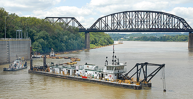 Ohio River channel maintenance dredging. Photo credit: Bill Hollman/ U.S. Army Corps of Engineers/Wikipedia