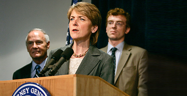 Tom Reilly; Martha Coakley; and Frank Gorke. Photo credit: Charles Krupa/Associated Press
