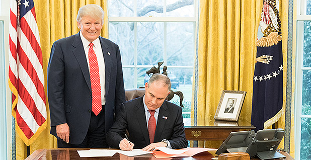 President Trump and Scott Pruitt. Photo credit: EPA