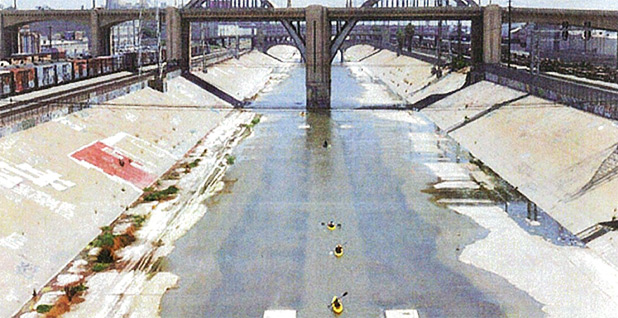 Kayakers from the L.A. River Expedition. Photo credit: EPA