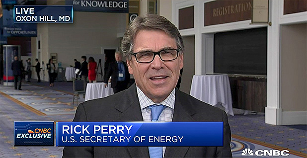 Rick Perry on CNBC. Photo credit: CNBC/Squawk Box