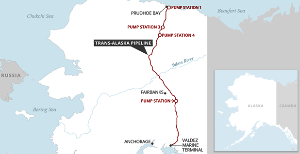Trans-Alaska Pipeline System with pump stations. Map credit: Claudine Hellmuth/E&E News
