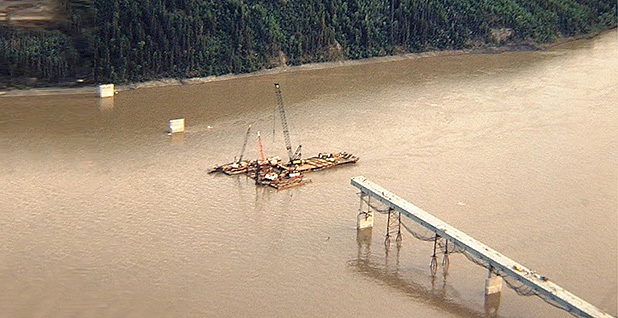 Yukon River Bridge pipeline construction. Photo credit: Gil Mull/Special to E&E News