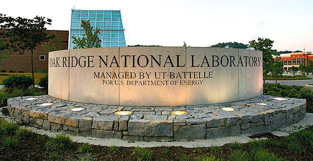 Oak Ridge National Laboratory sign. photo credit: University of Tennessee