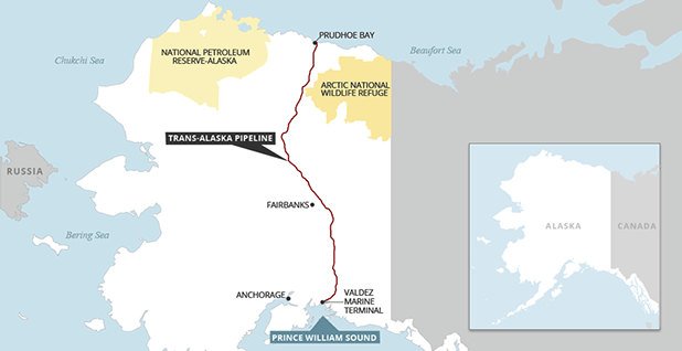 Trans-Alaska Pipeline System, Arctic National Wildlife Refuge and the National Petroleum Reserve-Alaska. Map credit: Claudine Hellmuth/E&E News