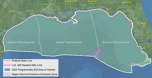 Gulf of Mexico map. Map credit: Bureau of Ocean Energy Management