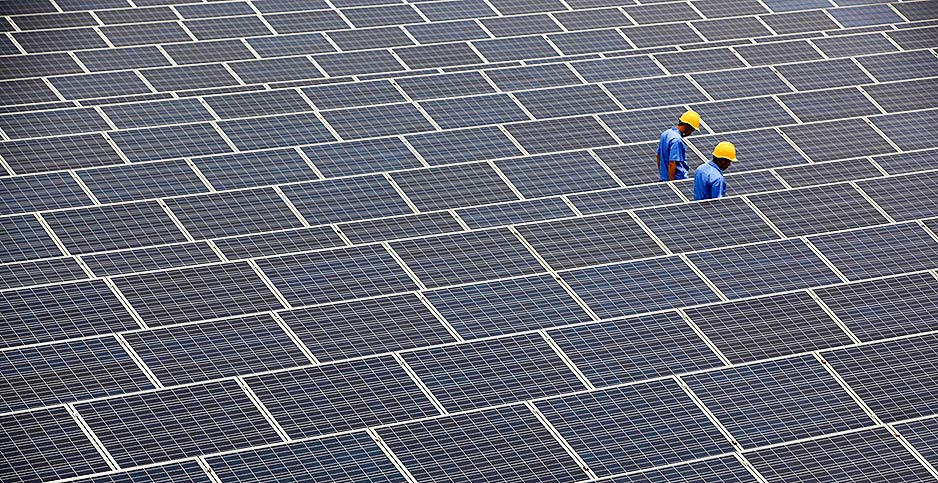 Solar panels in China's Shandong Province. Photo credit: Liang xiaopeng/Imaginechina/Associated Press