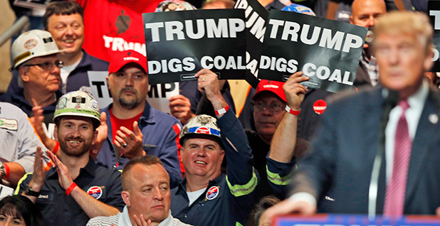 Trump rally with Coal signs. Photo credit:Steve Helber/Associated Press