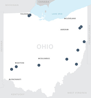 Map of natural gas-fired power projects in Ohio. Map credit: Claudine Hellmuth/E&E News