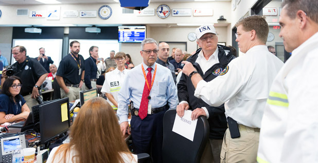 Trump at emergency center. Photo: Andrea Hanks/White House/Flickr