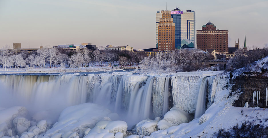 Frozen Niagara Falls. Photo credit: Michael Muraz via NOAA