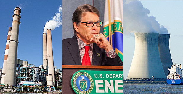 Power plant, Rick Perry, Nuclear cooling towers. Photo credits: Wknight94/Wikipedia (power plant); Simon Edelman/Department of Energy (Perry);Ad Meskens/Wikipedia(nuclear)
