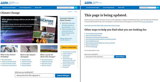 EPA climate change web site screen shots.